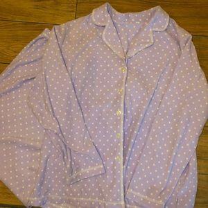 Lavender and white polka pajama set size XL